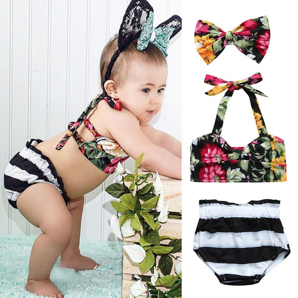 2018 New Cute 3Pcs Infant Kids Baby Girls Swimwear Straps Floral Swimsuit Beachwear Bathing Set Outfits maillot de bain 6M-24M
