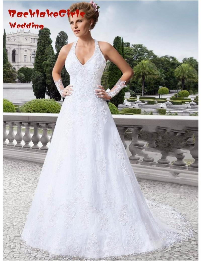 halter apliques modernos vestidos de boda backless vestidos de novia de encaje cors tribunal tren de