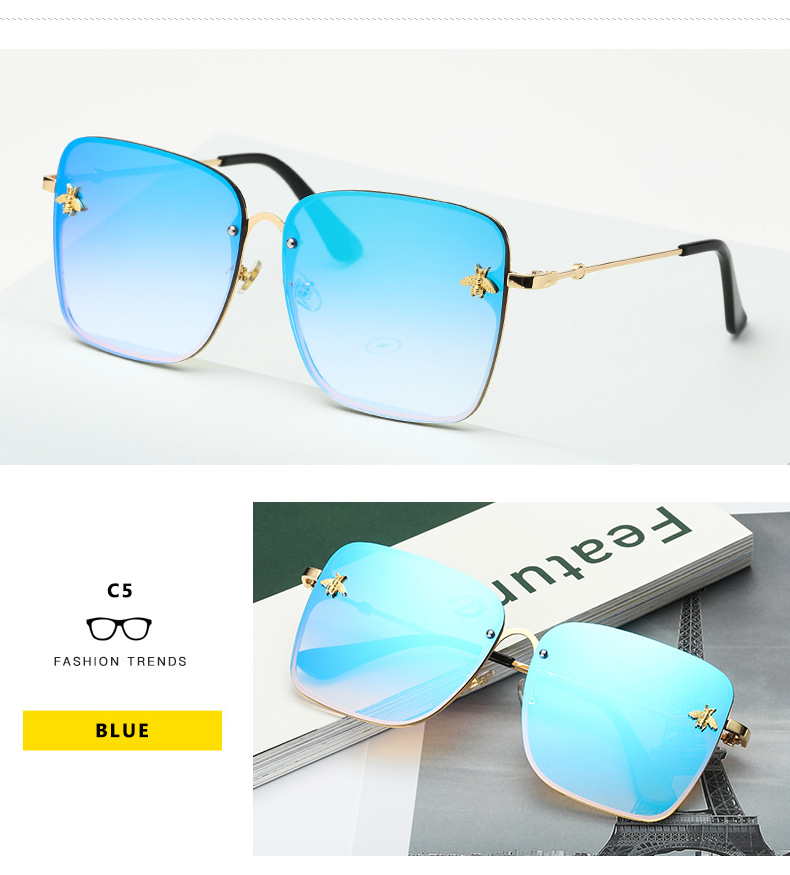 New Fashion Lady Oversize Rimless Square Bee Sunglasses CLOVER JEWELLERY