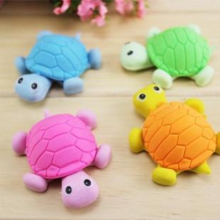 2 Pcs / Lot Children's Pupils Stationery 3D Pencil Eraser Super Cute Turtle Shape Eraser Safe Non-toxic Stationery
