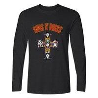 Black T Shirt Men Rock Band Printed Guns N Roses Men Long Sleeve T Shirt Punk