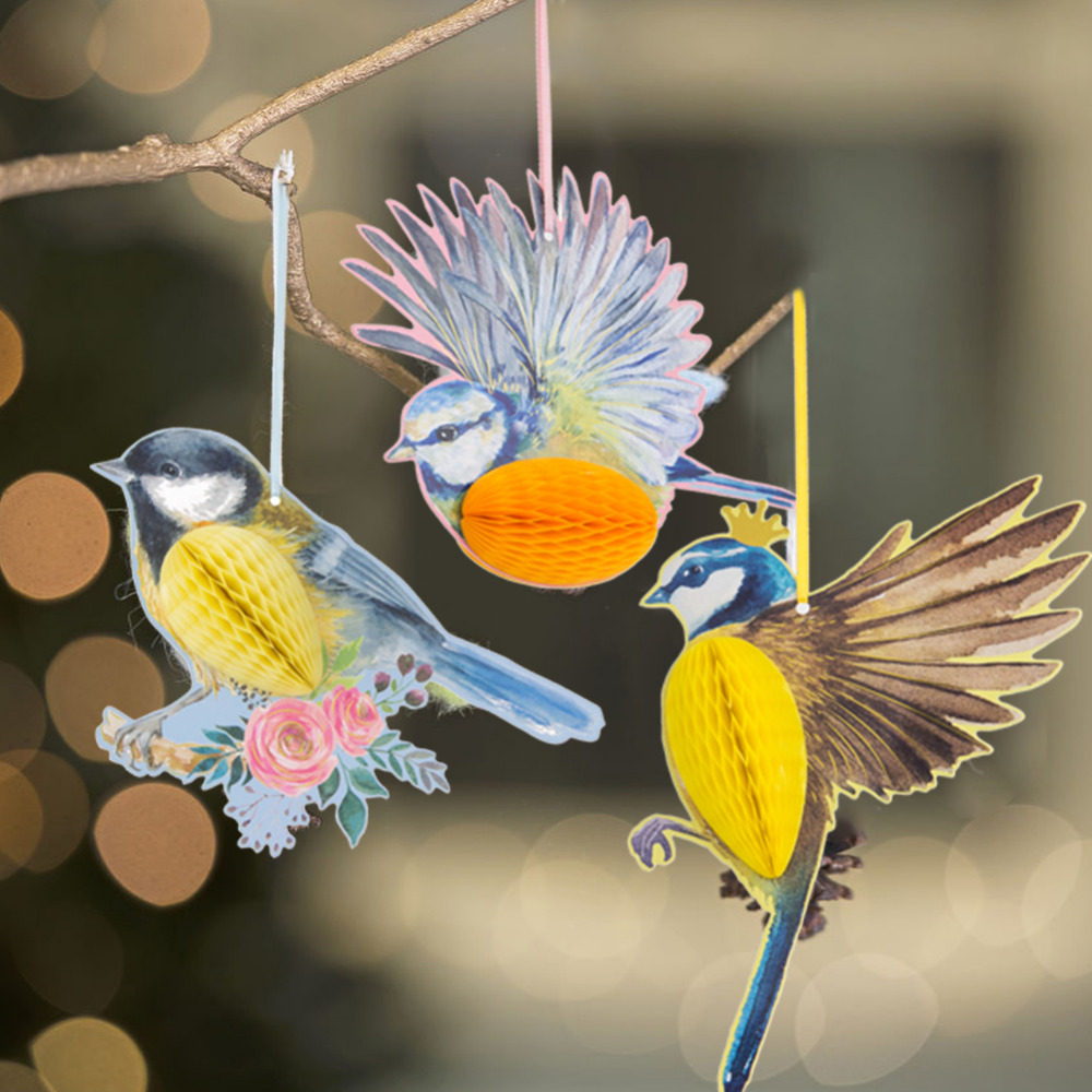 3pcs Hanging Paper Party Decoration Honeycomb Birds Tiki Easter Spring Wedding Birthday Garden Tea Party Supplies in Party DIY Decorations from Home Garden