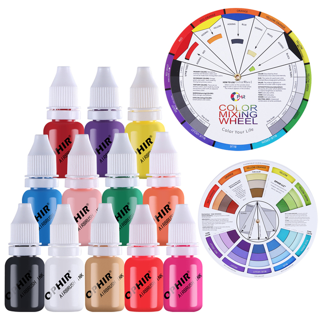 OPHIR 12สีA Irbrushเล็บหมึกสีw/ล้อสี10มิลลิลิตร/ขวดอะคริลิน้ำหมึกเล็บสำหรับเล็บลายฉลุสี_ TA098