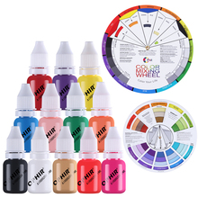 OPHIR 12 Colors Airbrush Nail Ink Pigment w/ Color Wheel 10ML/Bottle Acrylic Water Nail Ink for Nail Art Stencil Paint _TA098