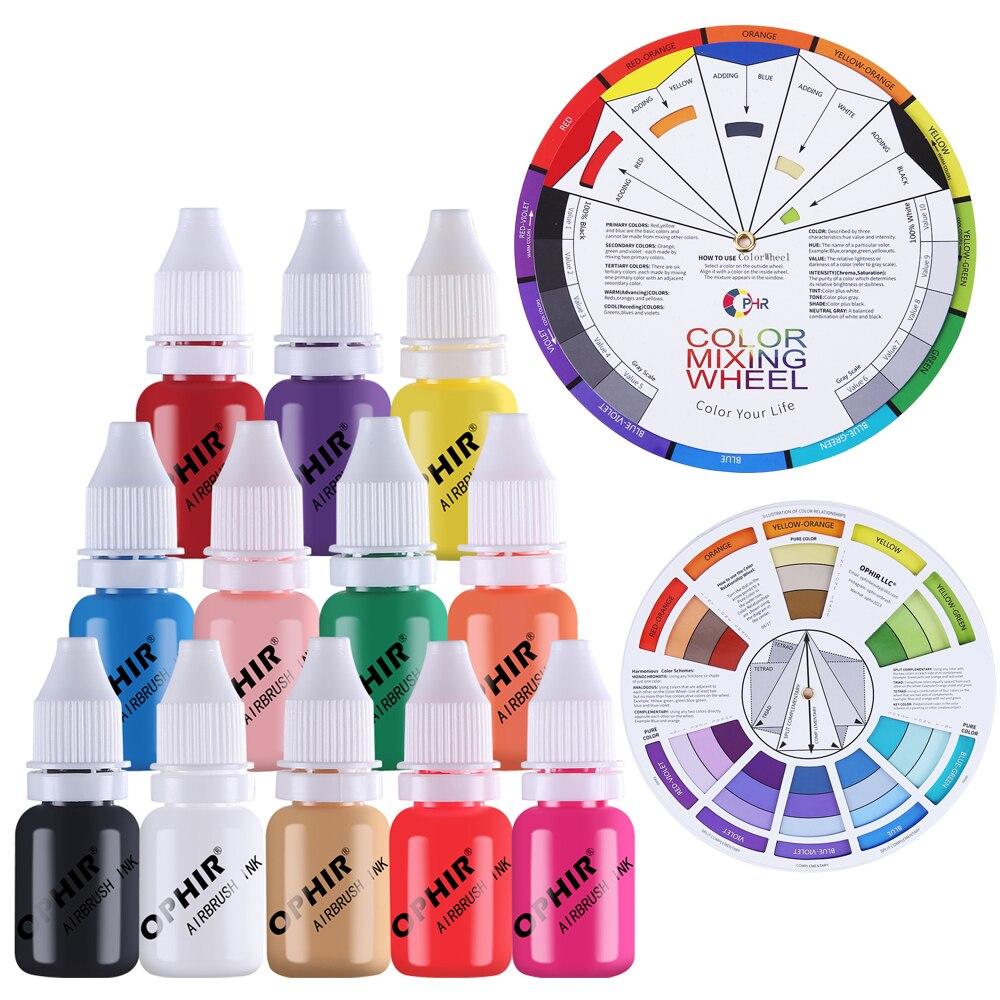 OPHIR 12 Couleurs Aérographe Ongles Pigment D'encre w/Roue De Couleur 10 ml/Bouteille D'eau Acrylique Ongles Encre pour nail Art Pochoir Peinture _ TA098
