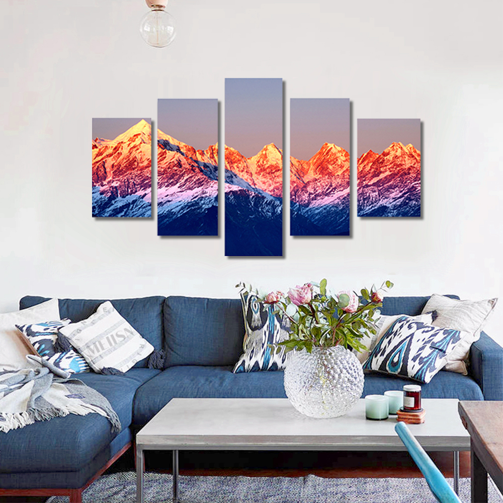 Unframed HD Canvas Prints Gongga Snow Mountain Sunset Modular Picture Prints Wall Pictures For Living Room Wall Art Decoration