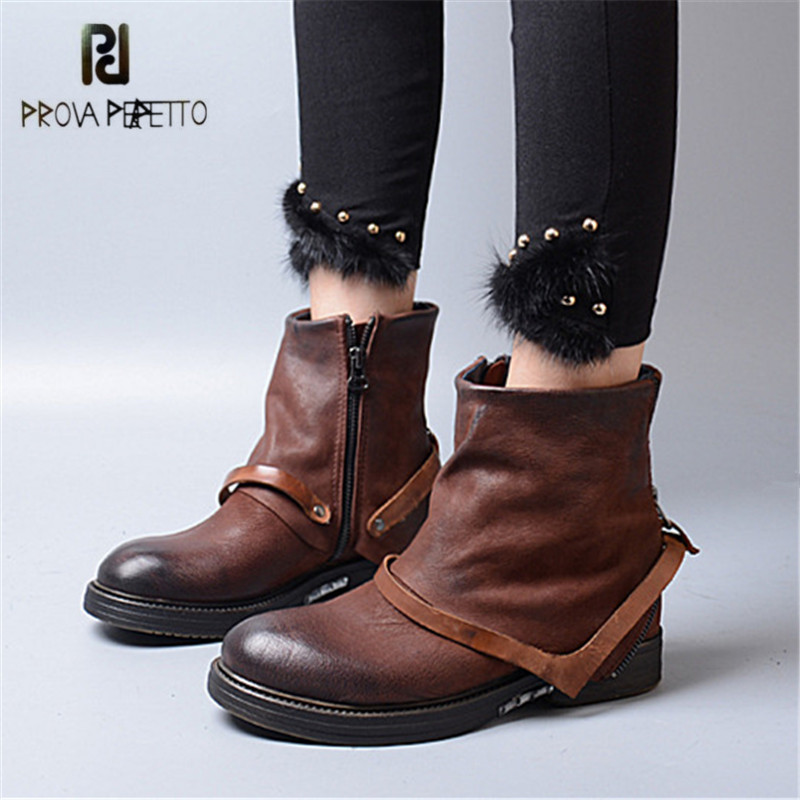 Prova Perfetto Autumn Winter Genuine Leather Ankle Boots for Women Retro Strap Decor Female Flat Botas Mujer Rubber Shoes Woman