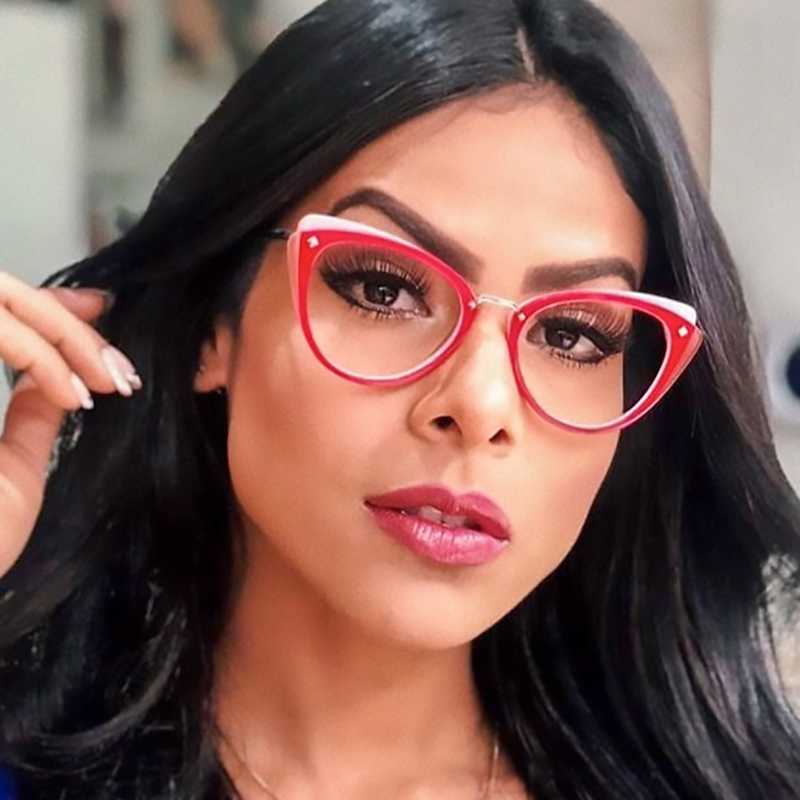 Two Tone Color Eyeglass Frames Cat Eye Female Glasses Frame 2019 New Trendy Transparent Eyewear Frame Computer Glasses oculos(China)