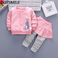 Autumn Baby Girls Clothes Cartoon Rabbit Bebes Suits Infant Newborn Clothes Sets Kids T Shirt Pant