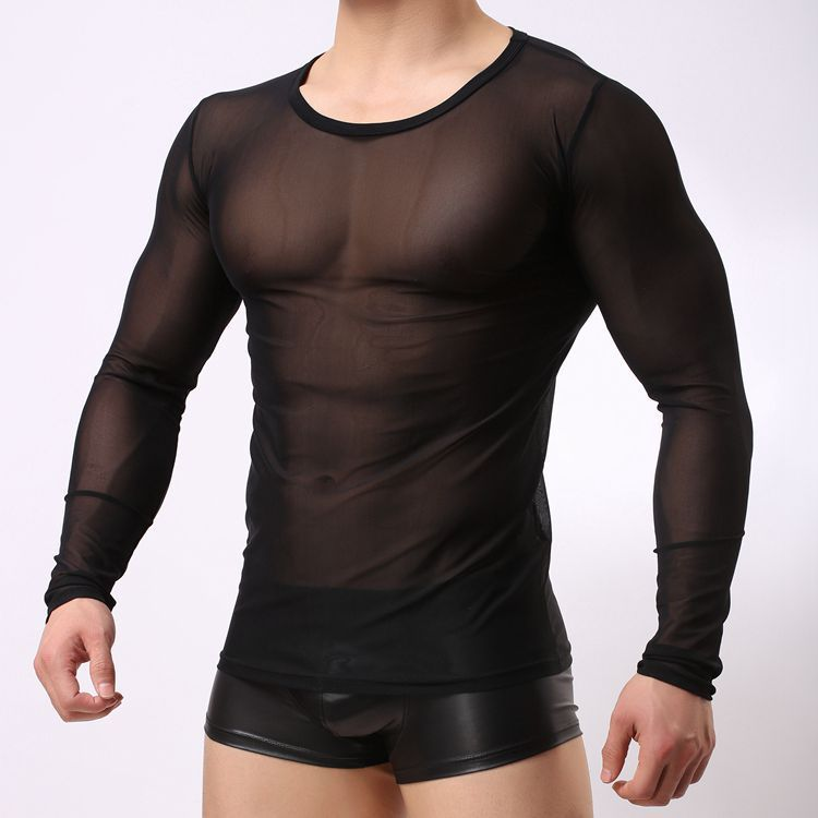 Transparent Mesh T Shirts Men Tshirt O-neck Long Sleeve Man Top Tees Singlet Undershirt Sexy Night Club Performace Wear Clothing