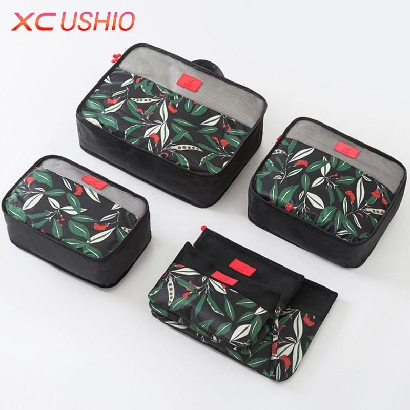 6pcs / set Floral Corak Travel Storage Bag Set Luggage Luggage - Organisasi dan penyimpanan di dalam rumah - Foto 3