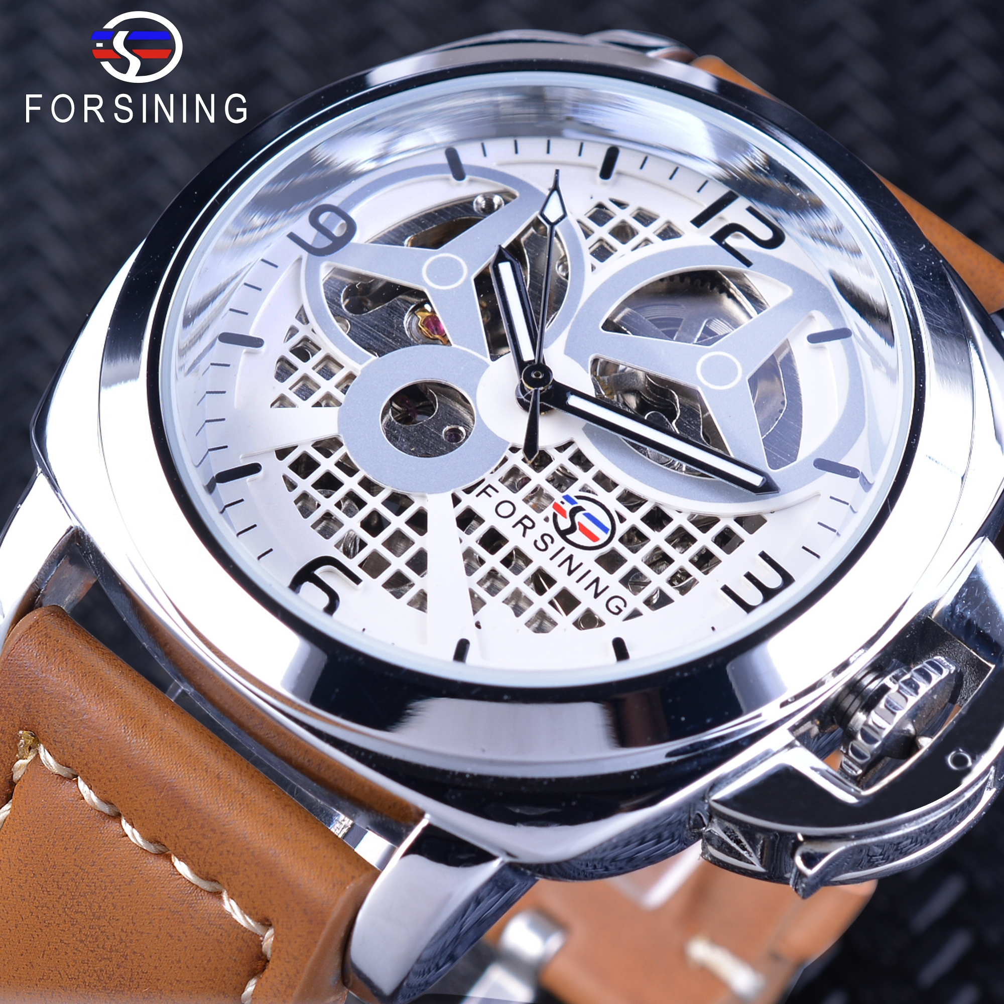 Forsining Brown Genuine Leather Belt Military Pilot Series Men Creative Sport Watches Fashion Automatic Skeleton Wristwatches