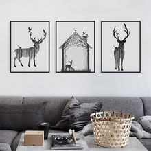 Nordic Vintage Black White Deer Head Animals Silhouette A4 Big Art Print Poster Wall Picture Canvas Painting No Framed Home Deco(China)