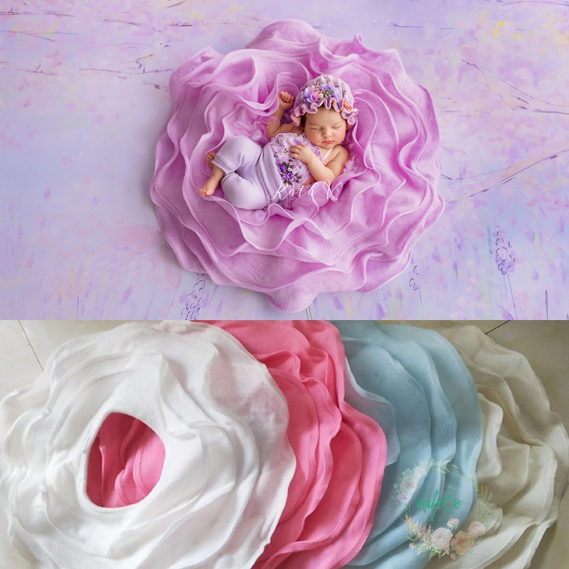 Baby Foto Prop Posiert Pod Nest Korb Neugeborenen Fotografie Requisiten Rosa Flusen Blanke Füllstoff Flora Decke Fotografia Zubehör