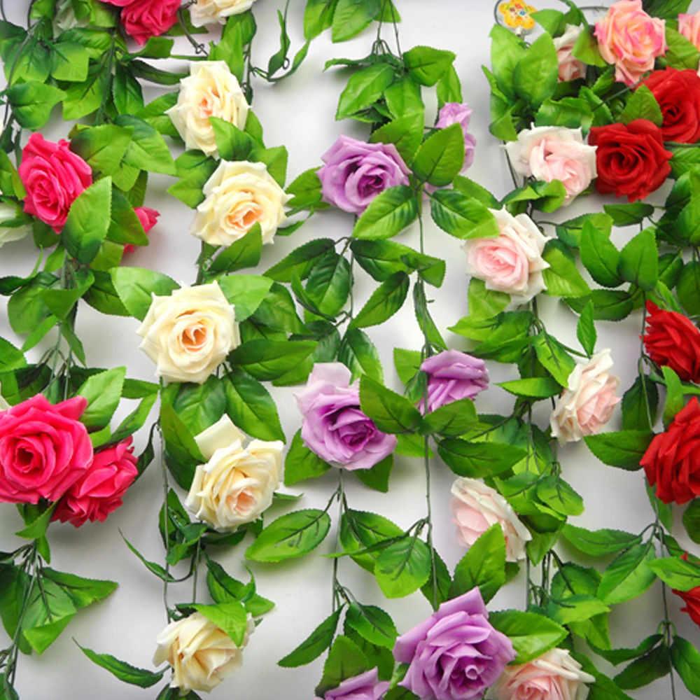 Hochzeit Dekoration Gefälschte Seide Rosen Ivy Vine Künstliche Blumen Mit Grünen Blättern Hängen Girlande Für Home Decor & xs