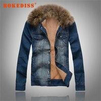 Men S Winter Thickening Denim Outerwear Fur Collar Coat Vintage Denim Jacket Male Plus Velvet Fleece