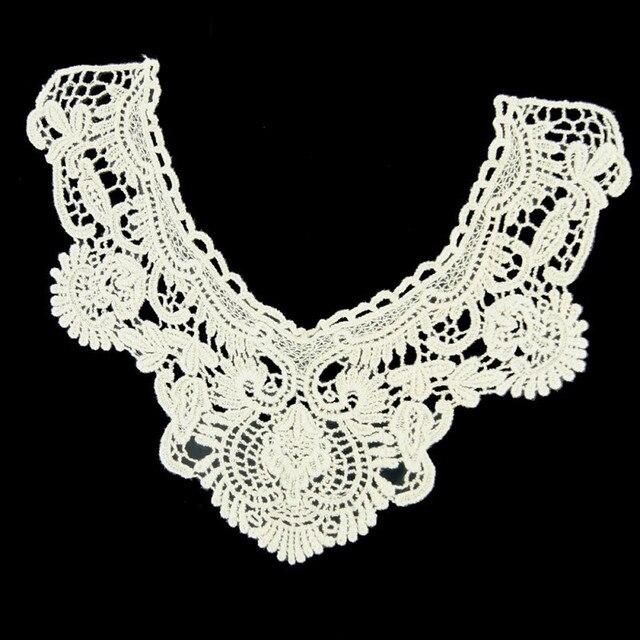 Mujeres Vintage flor bordado cuello ganchillo escote cuello de ...