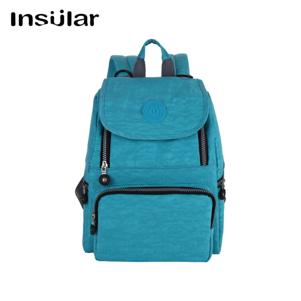 Insular Solid Color Mummy Backpack Fashion Multifunctional Capacity Design Shoulder Bag Waterproof Nylon Nursing Bag Diaper Bag