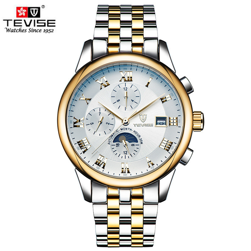 Mens Watches Luxury Brand TEVISE Men Automatic Mechanical Watch Waterproof Moon Phase Full Steel Wristwatch relogio masculino tevise men black stainless steel automatic mechanical watch luminous analog mens skeleton watches top brand luxury 9008g