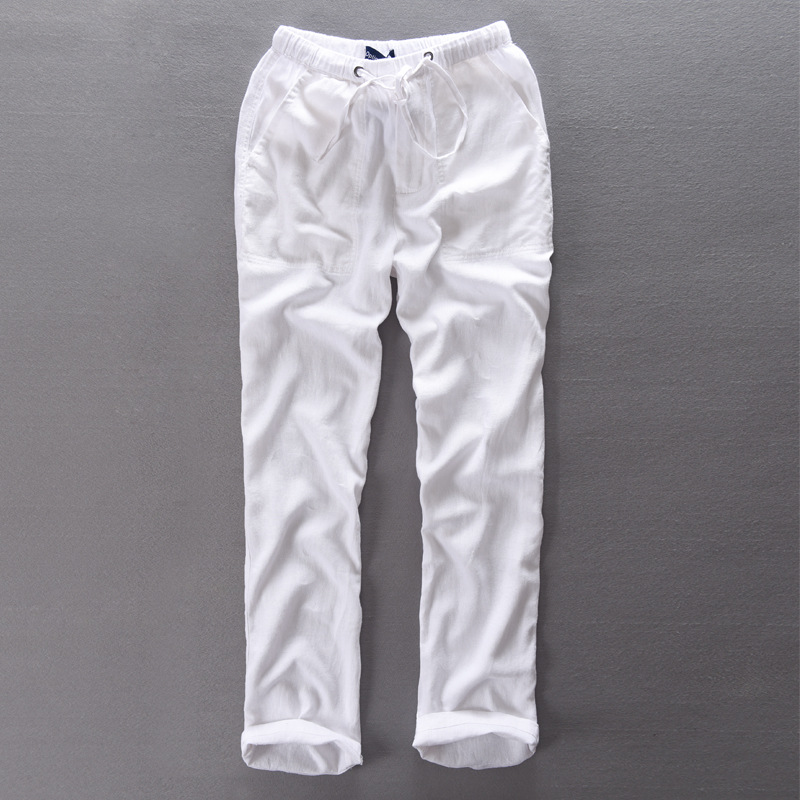 Elastic Waist Free Lengthy Pants Males Linen Trousers Males Cotton Summer season Spring Pants Mens Pantalon Homme 29-38 Measurement Flax Clothes