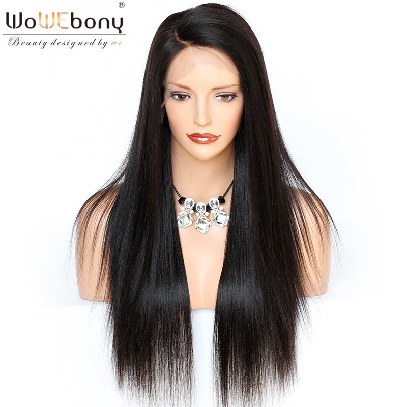 Straight Human Hair Wigs 180% 200% Glueless Full Lace Human Hair Wigs With Baby Hair Remy Pre Plucked Bleached Knots(China)