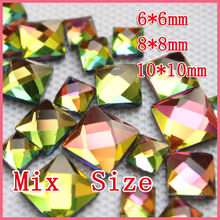 New sale Mixe size 130pcs 6mm 8mm 10mm Hot fix rhinestones for garment. Rainbow  free shipping