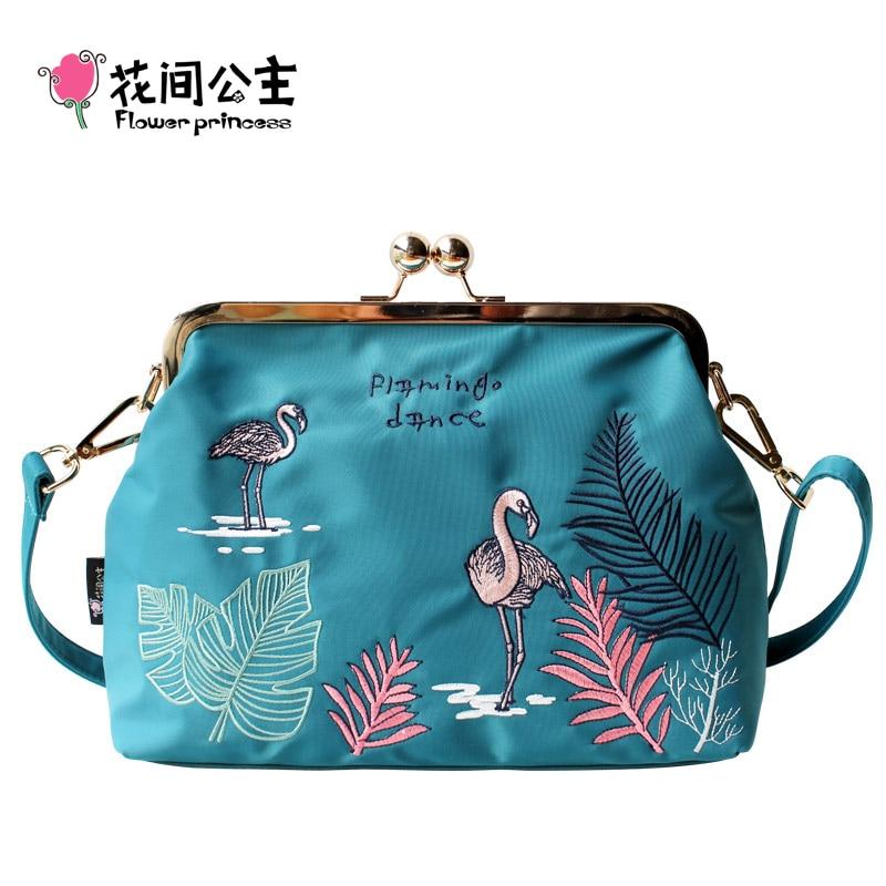 Flower Princess Nylon Embroidery Flamingo Women Messenger Bags Teenage Girls Crossbody Shoulder Bag Bolsos Mujer Bolsa Feminina