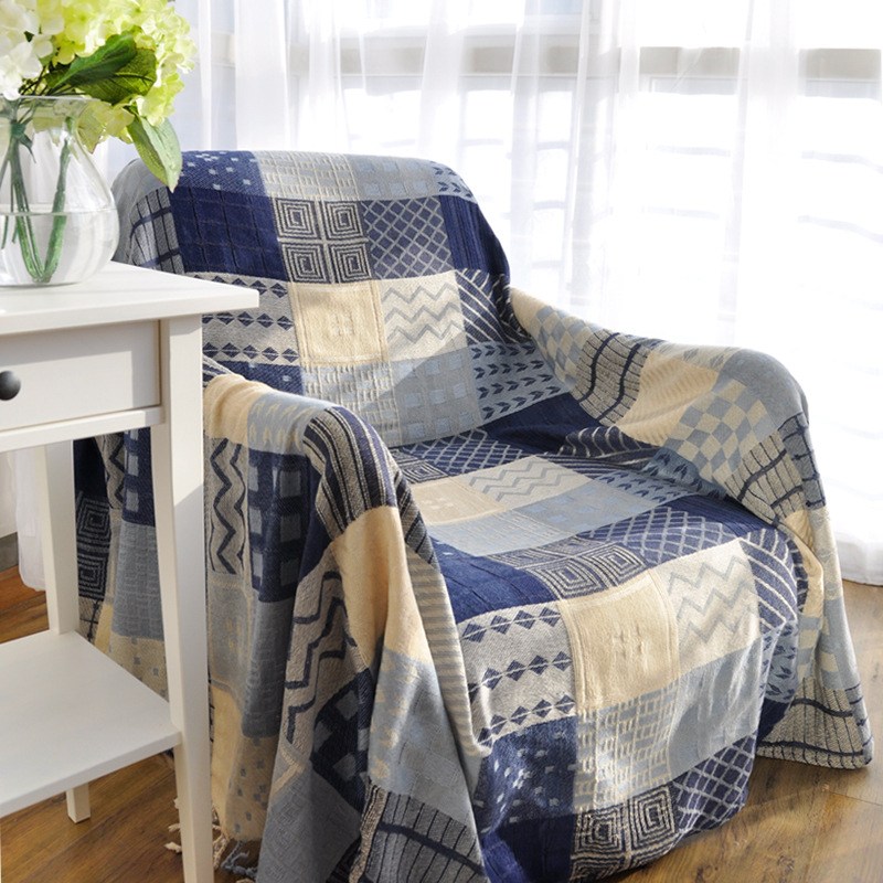 tassels blue geometric woven soft sofa blankets throws rugs sofa cover chair cover table cover home