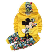 Baby Girls Clothing Sets Fashion Children Minnie Cotton Embroidery Hooded Coat And Pants Suit Outfits Kids Sports Clothes Set