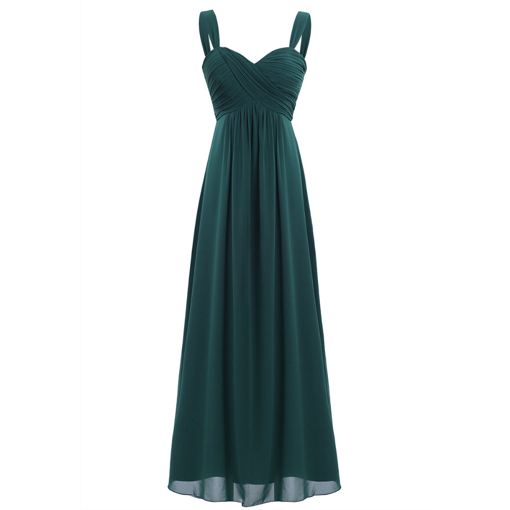 4 Color Women Ladies Chiffon Pleated Formal Dress for Birthday Party Long Evening Prom Gown 18 Summer Hot Dresses for Womens 2