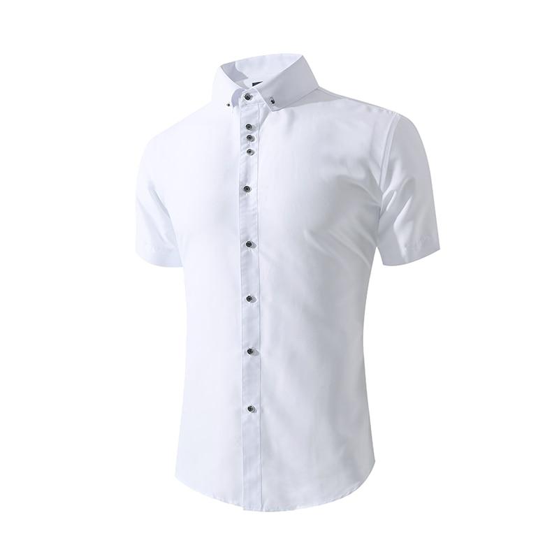 Men's White Casual Shirts Short Sleeve Slim Fit Men's Summer Shirt Long Sleeve Wedding Shirts Camisa Masculina