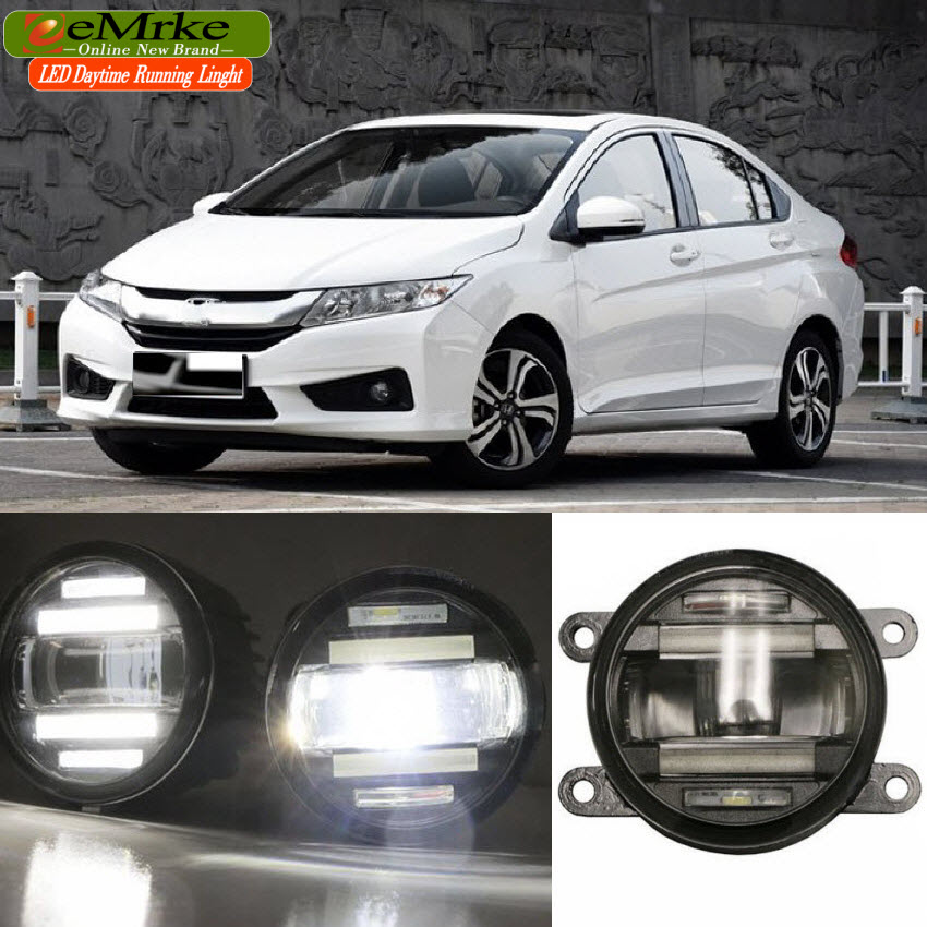 eeMrke Car Styling For Honda City GM6 2013 2014 2015 2 in 1 LED Fog Light Lamp DRL With Lens Daytime Running Lights eemrke car styling for opel zafira opc 2005 2011 2 in 1 led fog light lamp drl with lens daytime running lights
