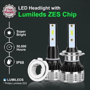 Image 2 - 2pcs Car Lights LED H1 H3 H4 H7 H8 H11 HB3 9005 HB4 9006 H27 880 881 9012 LED Bulb with ZES Chips 15000LM 6000K Auto Lamp 12V