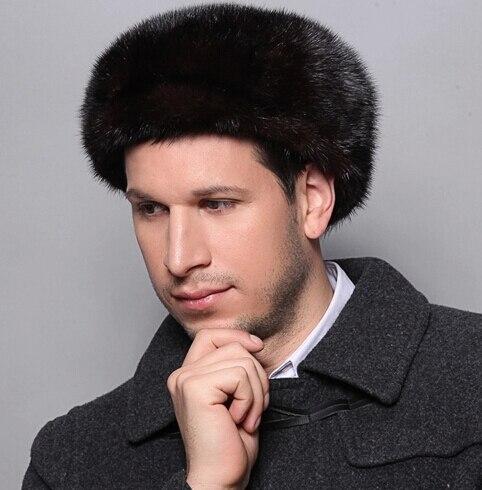 Черный настоящее мех норки шляпа для мужчины осень и зима на открытом воздухе тёплый подлинная мех норки шляпа кепка мужчины в шапочки