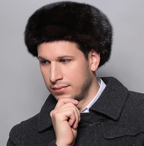 Wholesale High Quality Black Real Mink Fur Hat For Men Autumn And Winter Outdoor Warm Genuine Mink Fur Hat Cap Mens Beanies