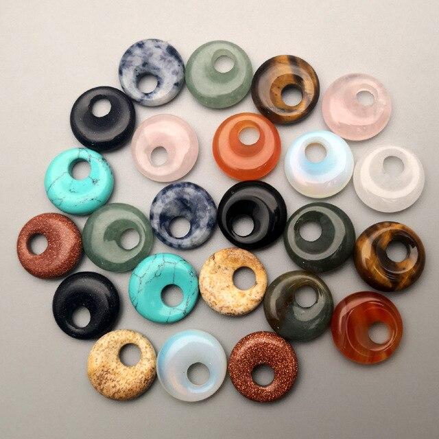 الأزياء 18 مللي متر gogo دونات الخرز الحجر الطبيعي لصنع المجوهرات قلادة قلادة أقراط إكسسوارات ساحرة 24 قطعة شحن مجاني