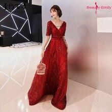 Làm Đẹp Emily Dài Burgundy Cổ V VÁY ĐẦM DẠ 2019 Nữ Tay Ngắn Họa Tiết Hoa Appliques Kim Sa Lấp Lánh Vestidos De Fiesta De Noche