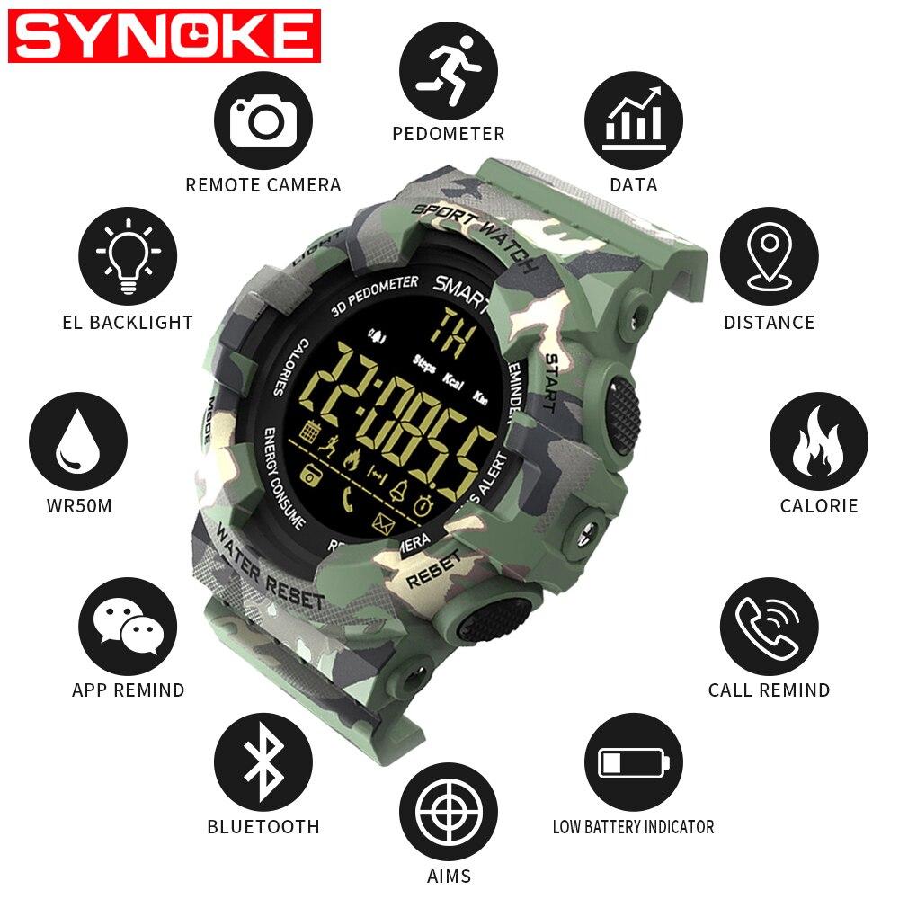 SYNOKE Android montre intelligente rappel d'appel militaire étape Ios Relojes Inteligentes Bluetooth hommes Sport numérique montre intelligente