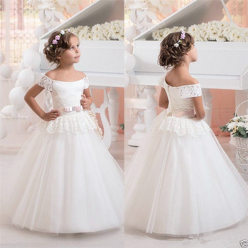 Sleeveless Flower Girl Dresses For Weddings Lace First Communion Dresses For Little Girls Ball Gown Tulle Kids Pageant Dress fancy pink little girls dress long flower girl dress kids ball gown with sash first communion dresses for girls