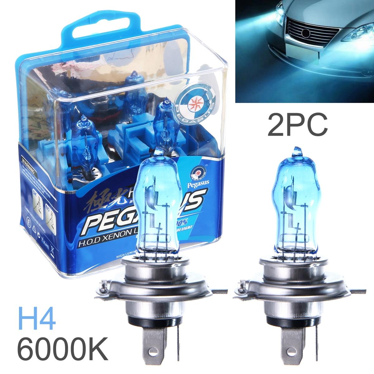 2 Pcs DC 12V H4 100W 6000K White Light Super Bright Car HOD Halogen Bulbs Auto Front Headlight Lamp