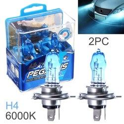 2 Pcs DC 12V H4 100W 6000K White Light Super Bright Car HOD Halogen Bulbs Auto Front Headlight Lamp External Lights for Cars