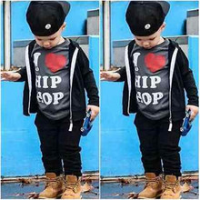 Children Bab Sets 2Pcs Toddler Baby Boys Tops Infant Cool I Love Hip HopT-shirt +Pants Set Kids Clothes Outfits
