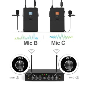Image 2 - ワイヤレスマイクシステム、 Fifine UHF デュアルチャンネルワイヤレスマイク 2 ヘッドセット & 2 ラペルラベリアマイクロホンで設定。 K038
