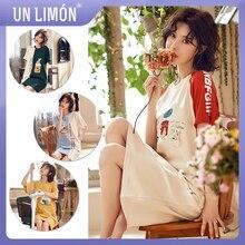UNLIMON Women Sleepwear Cotton Short Sleeve Korean Fashion Pajama Dress Outdoor Wear