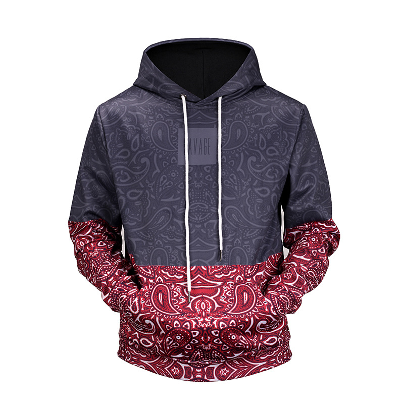 2018 3D Totem Hoodie with Hat Patchwork Black Red Long Sleeve Unisex Punk Hoodies for Women/Men Front Pocket Hoodies Outwear Hip