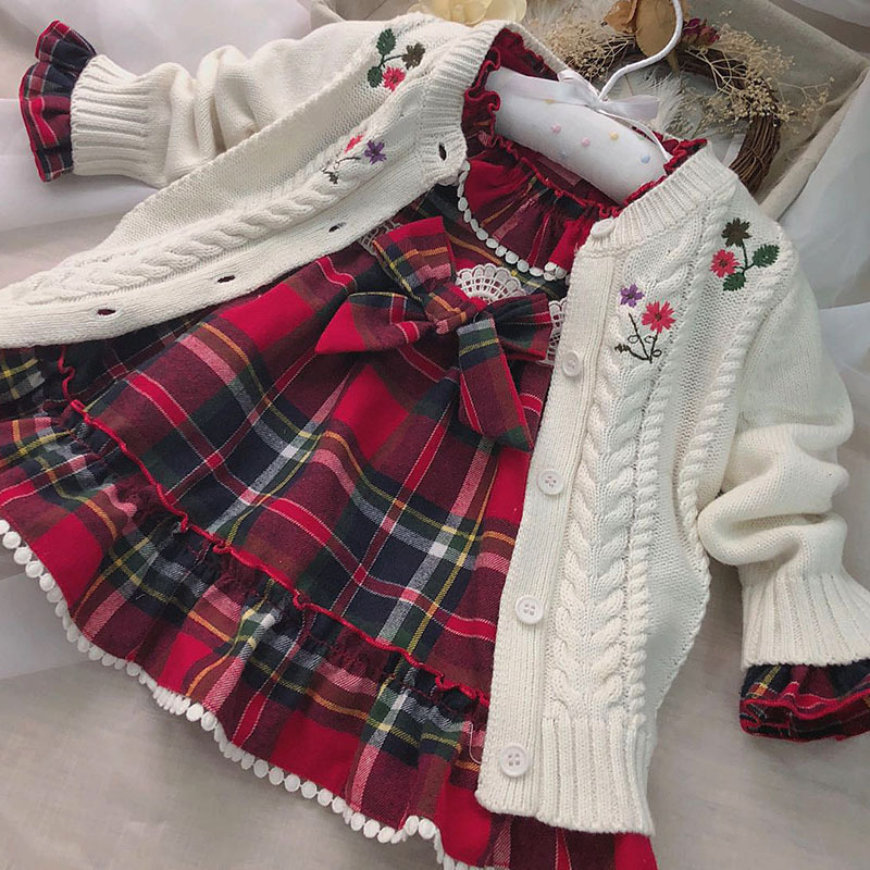 6336 Princess Embroidery Knit Solid Baby Girls Sweater Cardigan Autumn Winter Coat Kids Outwear wholesale baby Girls Clothes Lot
