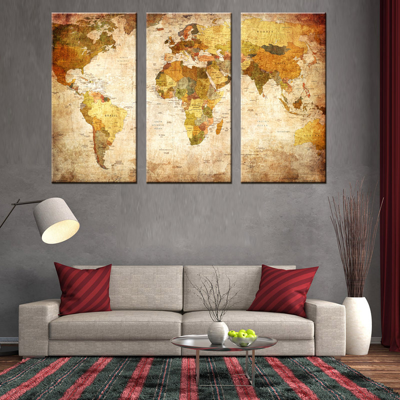 3 pcs set vintage painting framed canvas wall art picture classic map canvas print modern wall. Black Bedroom Furniture Sets. Home Design Ideas