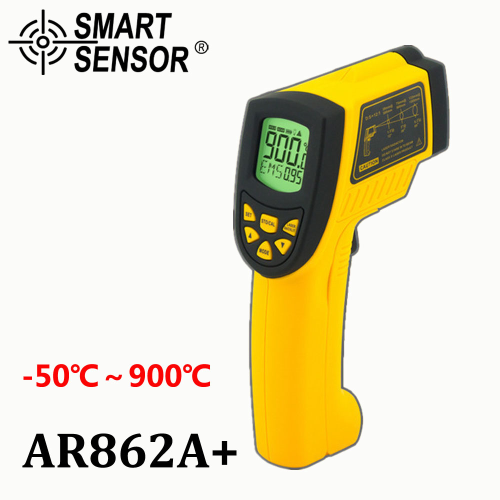 Smart Sensor Non-contact Digital IR infrared thermometer Laser Infrared Thermometer AR862A+,Temperature -50~900C(-58~1652F) 2017 bside btm21c infrared thermometer color digital non contact ir laser thermometer k type 30 500 led