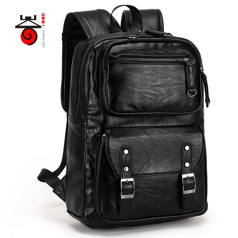 ФОТО Senkey style Casual High Capacity Quality Men Business Backpacks High Grade Leather Designer Men's Schoolbag Travel Laptop Bag