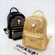 2015 новый Корейский рюкзак рюкзак путешествия прилив заклепки алмаз черепа крокодила очень стильные элементы, которые вы заслуживаете
